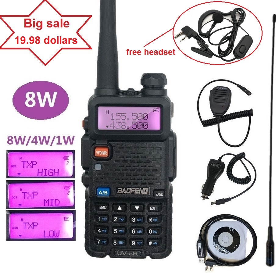 Powerful BAOFENG UV-5R 8W Walkie Talkie Portable Hunting Radio Scanner Ham CB Amateur Radio Station Transceiver PMR446 Transmitt