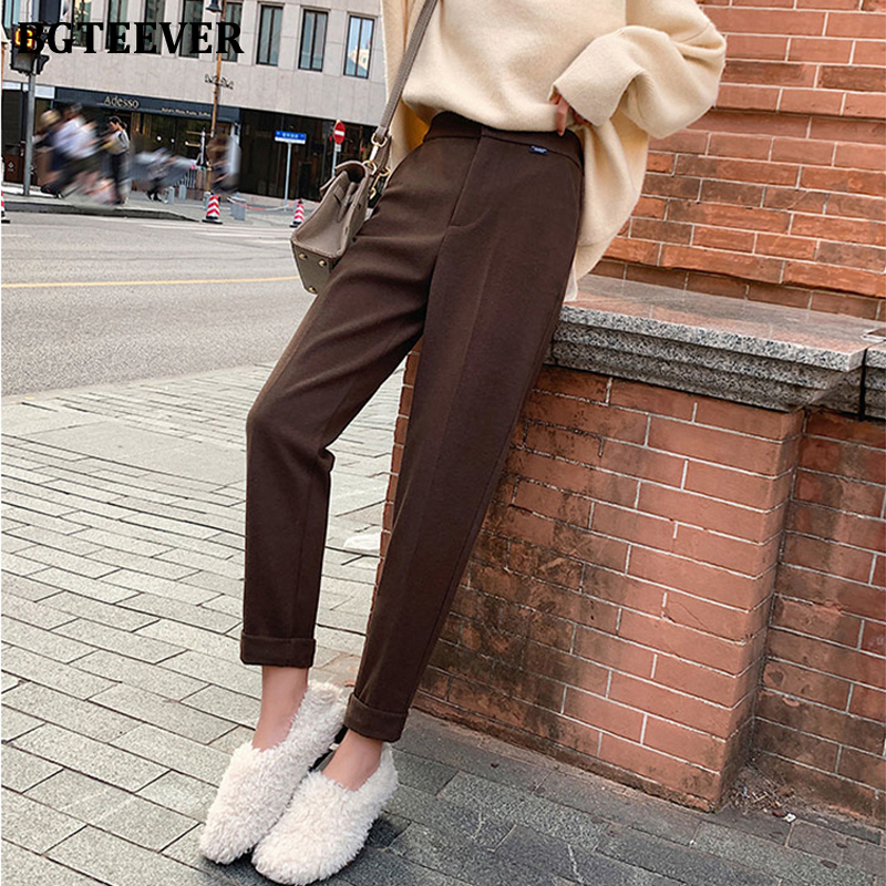 Casual Solid Autumn Winter Pants High Waist Thicken Women Suit Pants Woolen Warm Female Trousers Capris 2019
