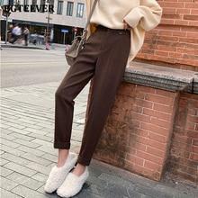 Casual Solid Autumn Winter Pants High Waist Thicken Women Suit Pants