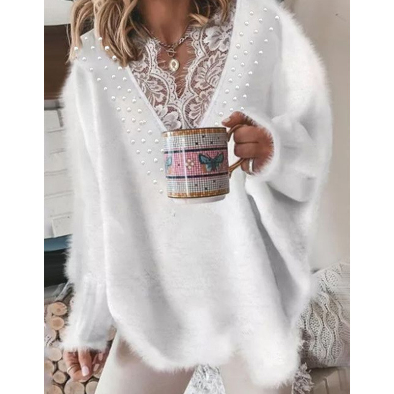 Knitted Sweaters Jumper Mesh Women Clothing V-Neck Pearl Patchwork Long-Sleeve Winter