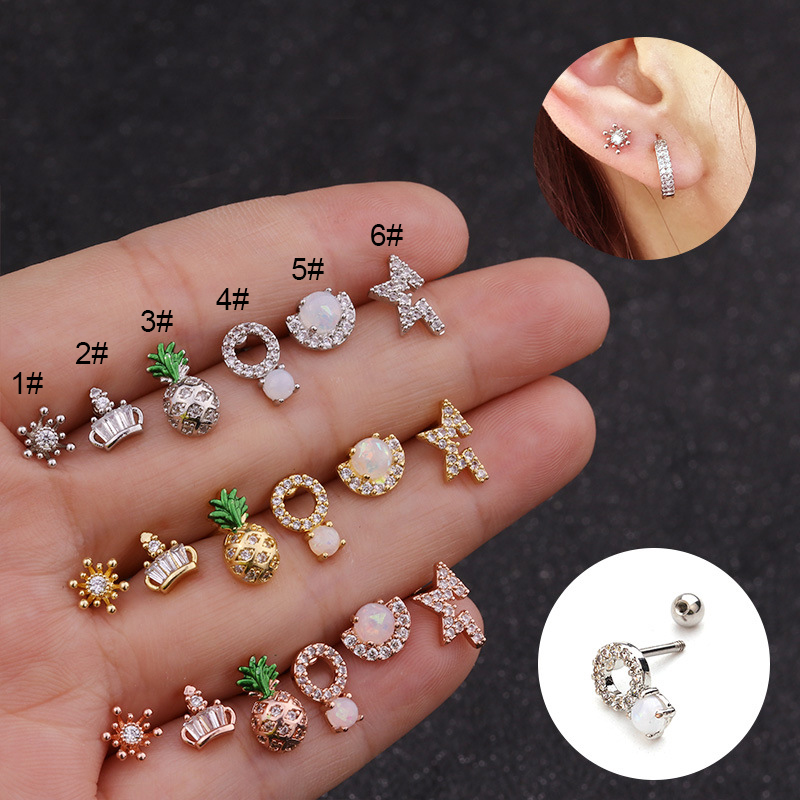 Fashion 1Pc Ear Piercing Jewelry 20g Stainless Steel Bar and Cz Cartilage Helix Tragus Conch Rook Lobe Screw Back Earring Stud