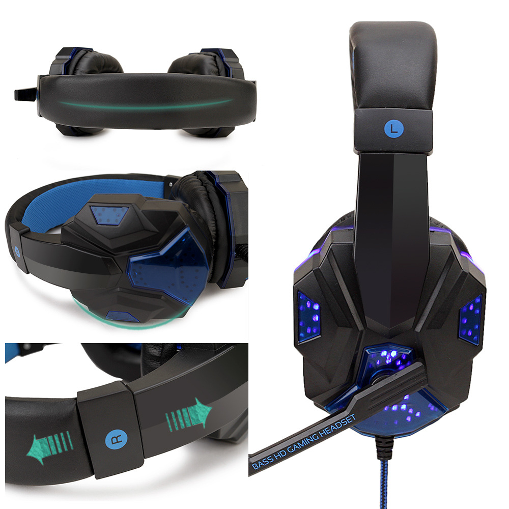 Professional Led Light Gamer Headset for Computer PS4 Gaming Headphones Adjustable Bass Stereo PC Wired Headset With Mic Gifts 3