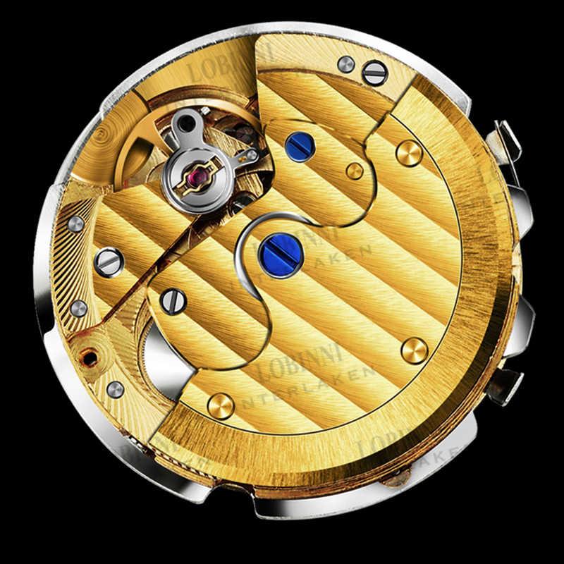 Suíça lobinni relógios masculinos marca de luxo relógio automático para homem relógio mecânico couro safira relogio masculino 2019
