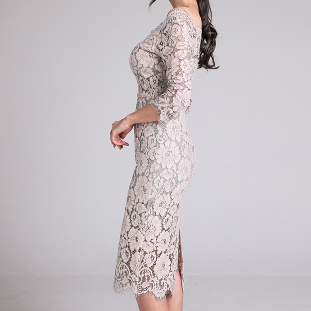 Fashion New arrived Women's Dress Fall 2019 New One-neck Low-breast Lace Seven-minute Sleeve-wrapped Hip Dress 1