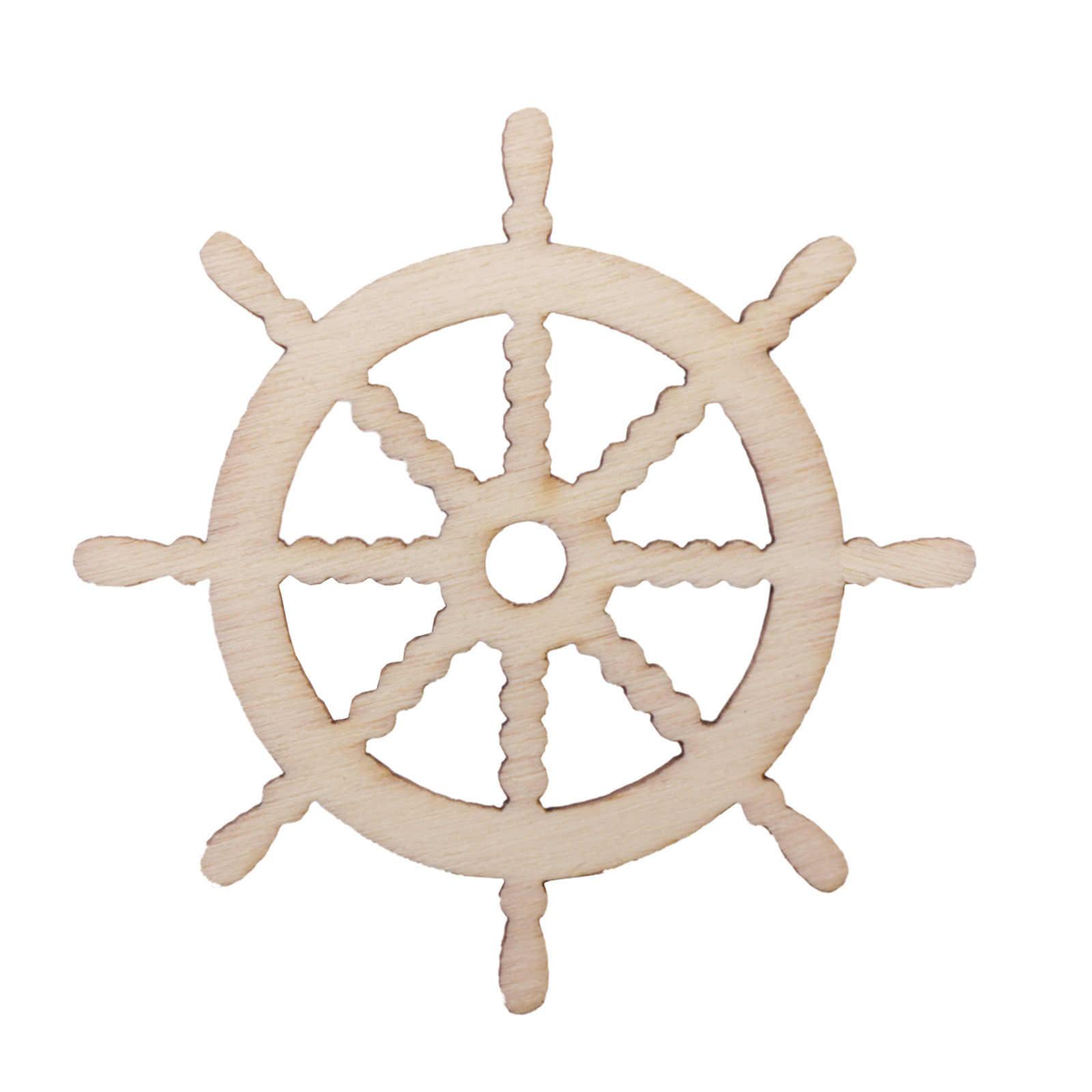 10 Uds artesanía de madera ancla y Dirección forma adorno colgante de decoración para DIY tela accesorio álbum de recortes fiesta en casa Decoración