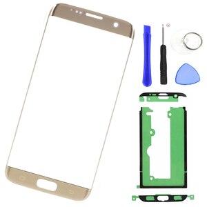 Image 1 - Für samsung Galaxy S7 Rand G935 G935F Original Telefon LCD Touch Screen Front Äußere Glas Panel Objektiv Ersatz Klebstoff + werkzeuge