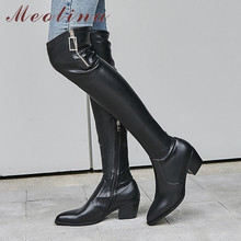 Meotina Winter Over The Knee Boots Women Natural Genuine Leather Block Heel Thigh High Boots Zip Pointed Toe Shoes Lady Fall 42 salu 2018 new over the knee genuine leather boots women winter shoes woman zip high quality free shipping