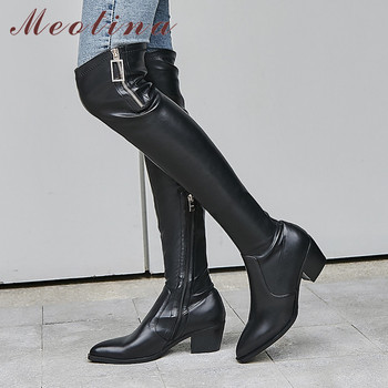 Meotina Winter Over The Knee Boots Women Natural Genuine Leather Block Heel Thigh High Boots Zip Pointed Toe Shoes Lady Fall 42