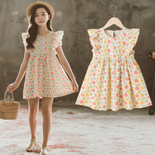 Girl Floral dress 2021 summer Country style child Princess dress CUHK Pure cotton skirt