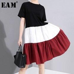 [EAM] женское черное плиссированное платье, контрастного цвета, элегантное, с круглым вырезом, с коротким рукавом, свободное, модное, весна-лет...