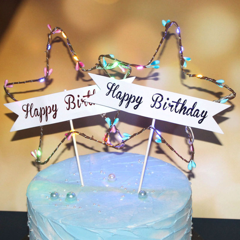 Glitter Star Happy Birthday Cake Topper Star Light Red Blue LED Luminous Cake Card Top Flag Decoration For Birthday Party Toys