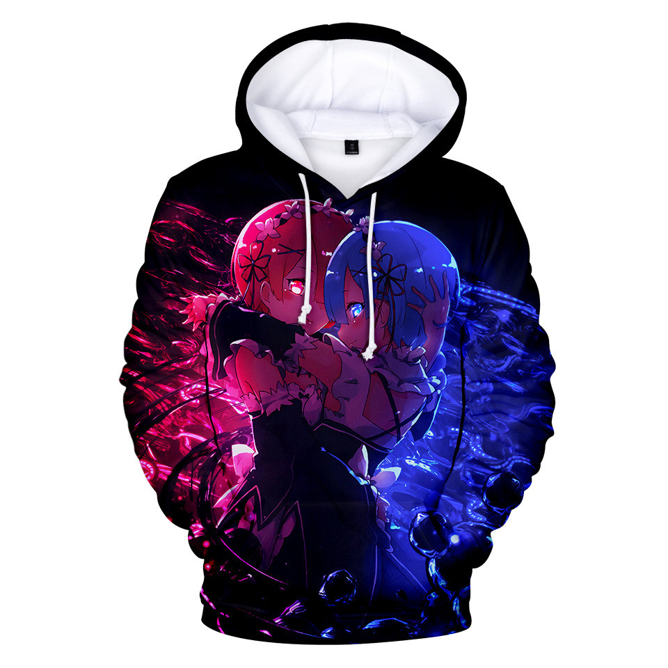 Re Zero Hoodie Hooded Jacket Pullover Coat Sweatshirt for Men Women Kid Girl Clothing Clothes Rem and Ram Japanese Anime Hoodies