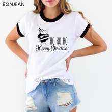 Lovely Santa Claus printed funny t shirts women Merry Christmas t-shirt female Kawaii custom tshirt Xmas Gift graphic tees christmas santa graphic pompon embellished sweatshirt