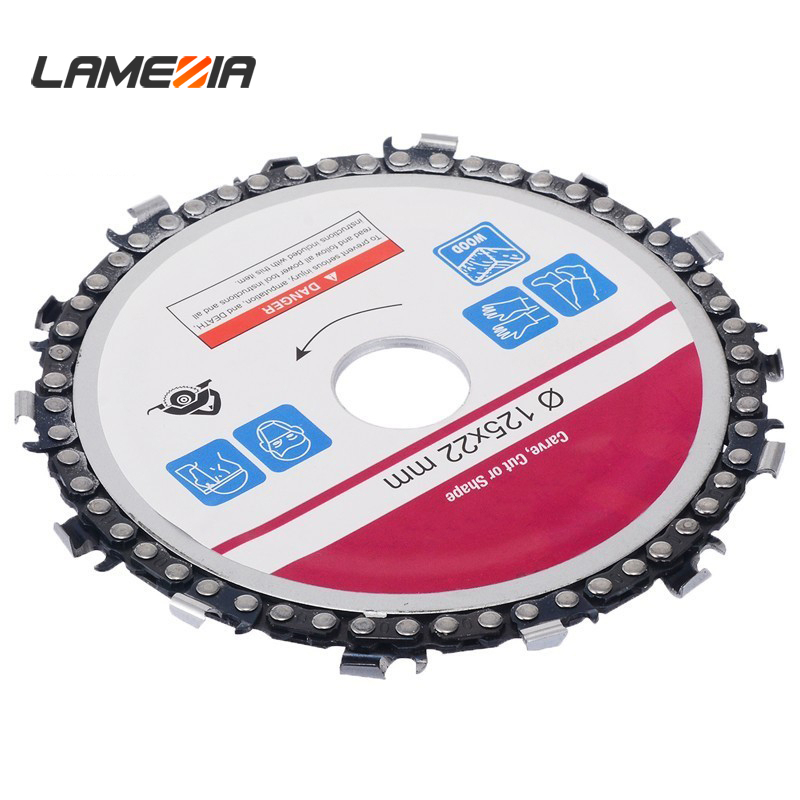 LAMEZIA 5 Inch 22mm Diameter 14 Tooth Chainsaw Disc For Angle Grinders Circular Saw Blade Wood Cutting Steel Carving Cut Carve