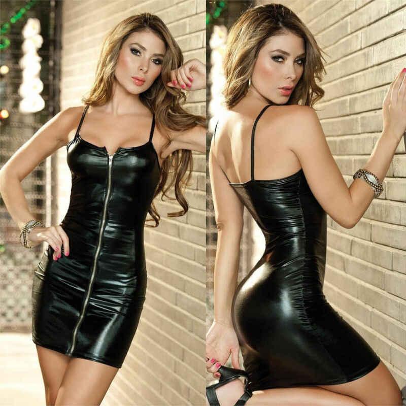Moda 2020 moda cremallera Mujer noche Wet Look Sexy ceñido al cuerpo vestido fiesta Clubwear verano caliente negro Delgado nuevo Mini vestido