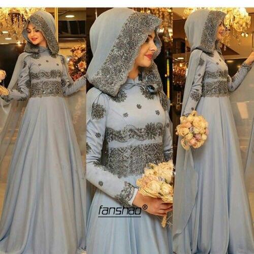 Silver Gray Muslim Wedding Dresses Scarf Court Train Vestido De Noiva Applique Dubai Arabic Wedding Gown Bridal Gown Custom
