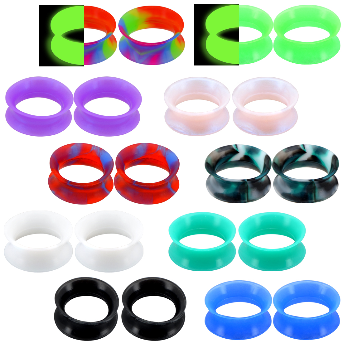 2pc Flesh Skin Colored Ear Gauges Plugs Tunnels Expanders Stretcher Silicone Body Piercing Jewelry