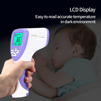 Infrared LCD Digital Forehead Thermometer Electric Non-contact Body Temperature Measure Device Baby Adult Kids Hygrometer OLIECO tanie i dobre opinie HRX-T1803 Purple blue 170mm*95mm*45mm 142g Do not include Less than 85 DC 3V (2 AA batteries in series) 165*110*145mm About 20s