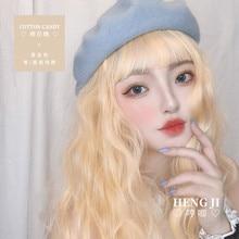 Uwowo uzun kıvırcık peruk Cosplay Lolita Cosplay altın peruk isıya dayanıklı sentetik saç Anime parti peruk