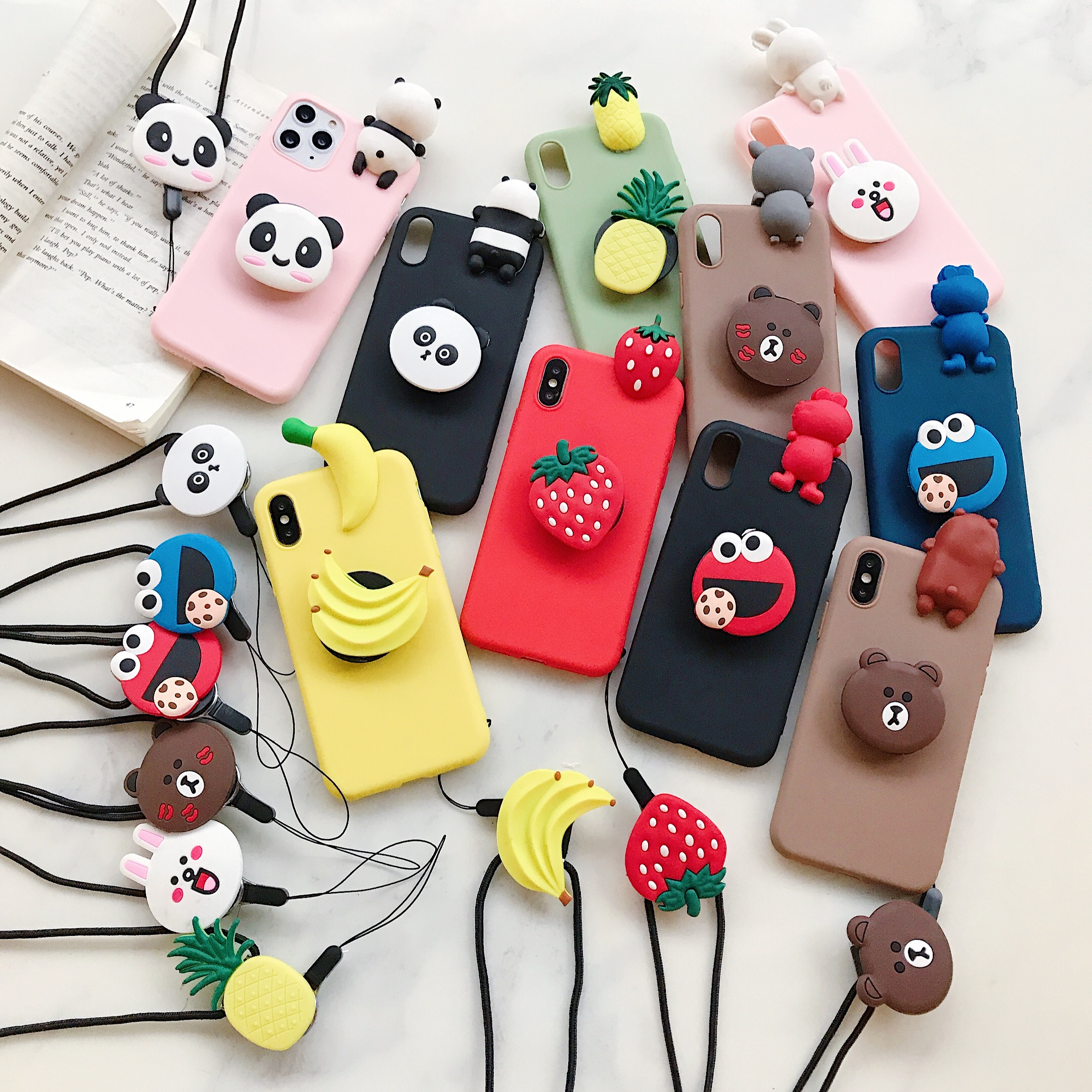 <font><b>3D</b></font> cute cartoon bear rabbit Strawberry stand holder lanyard silicone TPU phone case for <font><b>oneplus</b></font> 7pro 7t 7 6t <font><b>6</b></font> 5 5t cover funda image