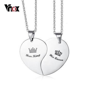 Vnox sa reine son roi couronne Couple collier pour femmes hommes pendentif coeur acier inoxydable amant