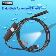 FUERS 2 м 1,5 м 1 м 5,5 мм 7 мм эндоскоп для телефона Android USB мини-камера Водонепроницаемый 6 светодиодный бороскоп Автомобильная Инспекционная камера для ПК