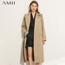 AMII Minimalism Autumn Fashion Women Windbreaker Solid Lapel Double breasted Belt Women Overcoat Female Coat  12070333