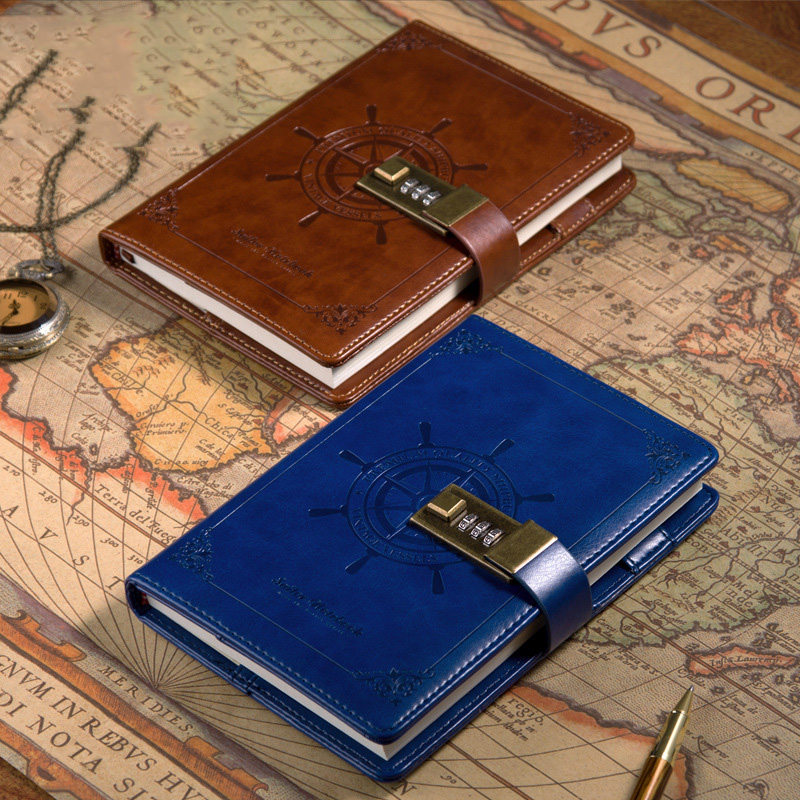 B6 Notebook with Lock Bullet Journal Vintage Diary Notepad Line Blank Agenda Planner Organizer Retro Note Book Travel Handbook
