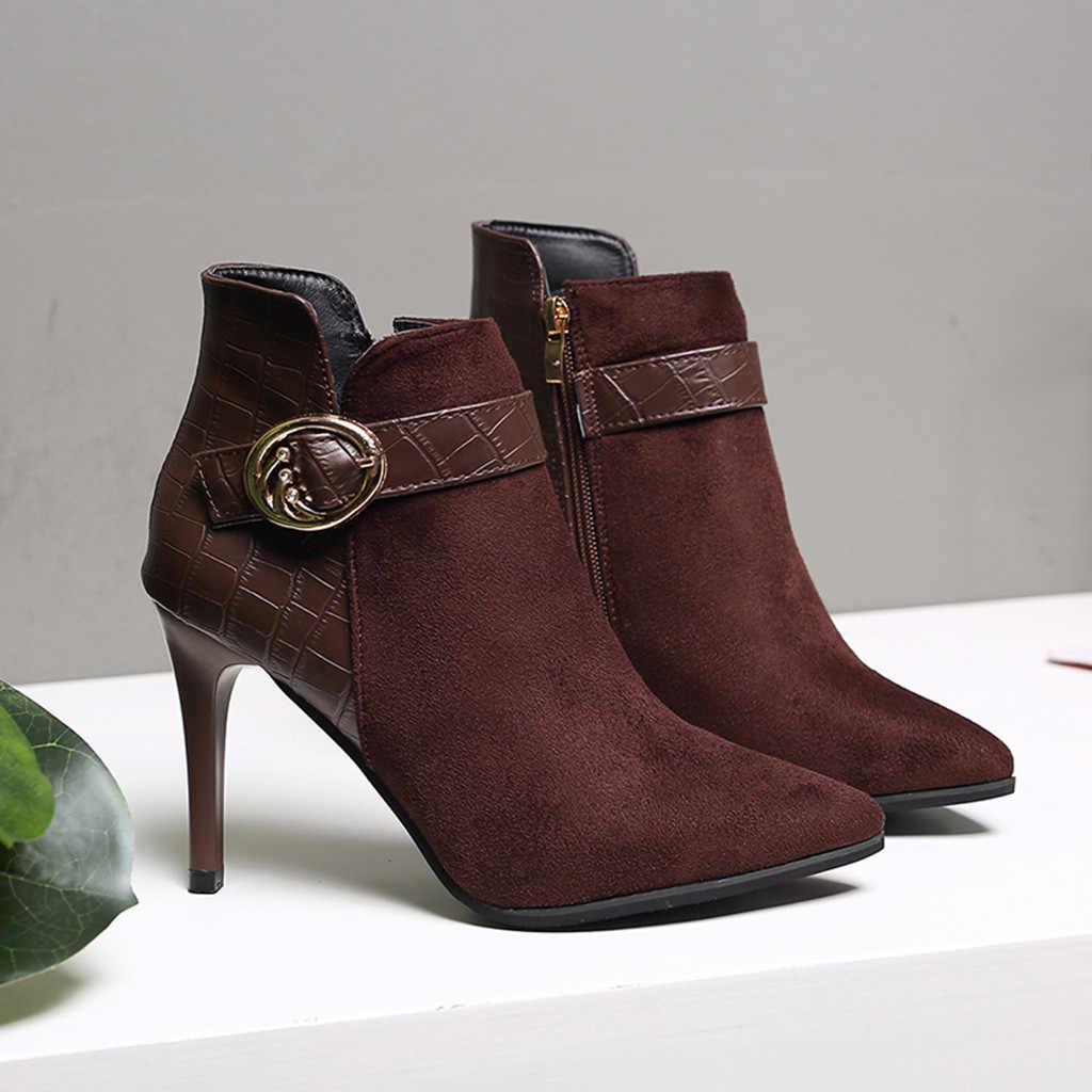 ผู้หญิงส้นสูงรองเท้าฤดูใบไม้ร่วงและฤดูหนาวใหม่แฟชั่นผู้หญิงสายคล้องคอชี้ Toe Thin Heel รองเท้าปาร์ตี้รองเท้า