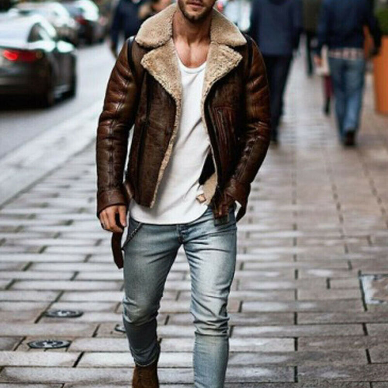 Men Casual Genuine Leather Autumn Winter  Moto Or Biker Style Zipper Closure Type Patchwork Pattern Regular Clothing Length
