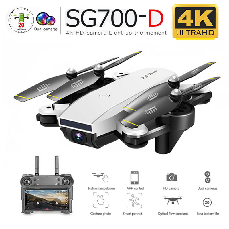 SG700-D WiFi FPV RC Drone Dual Camera Folding 4K 1080P 720P Optical Flow Drone Wide-angle Real Time Aerial Helicopter Quadcopter