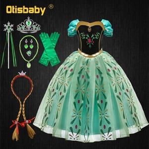 Платье принцессы Анны для девочек; платья для дня рождения; карнавальный костюм Эльзы на Хэллоуин для младенцев; нарядное платье Снежной Ко...