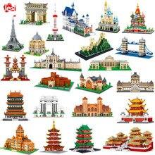 Arquitetura do mundo torre eiffel ponte grande parede museu do louvre castelo palácio diy mini blocos de diamante tijolos brinquedo de construção sem caixa