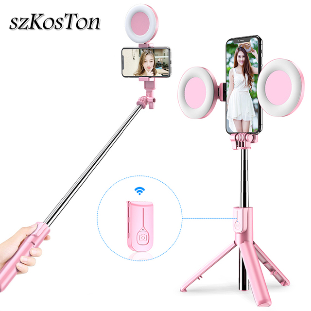새로운 무선 블루투스 Selfie 스틱 삼각대 LED 링 라이트 Foldable 핸드 헬드 Monopod 셔터 원격 삼각대 아이폰 11 화웨이