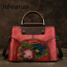 Johnature Handmade Embossing Genuine Leather Women Bag Handbags 2020 New Cow Leather Vintage Floral Shoulder&Crossbody Bags