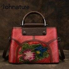 Johnature el yapımı kabartma hakiki deri kadın çanta çanta 2020 yeni inek deri Vintage çiçek omuz ve Crossbody çanta