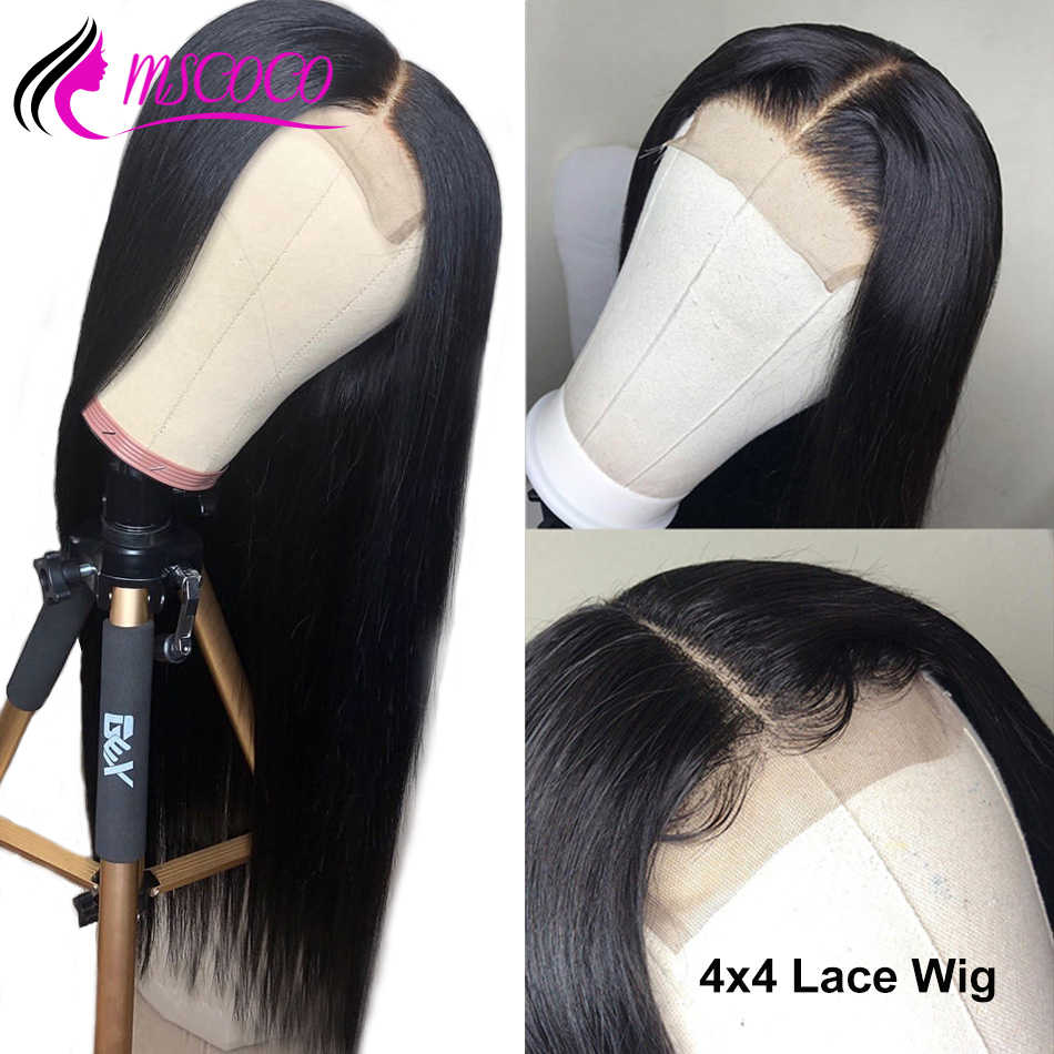 Mscoco 4x4 Closure Wig Brazilian Straight Lace Closure Human Hair Wigs Pre Plucked With Baby Hair 8- 24 inch Brazilian Lace Wig