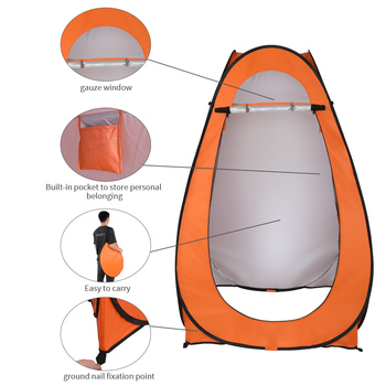 1-2 Person Portable Pop Up Toilet Shower Tent Changing Room Dressing Tent Camping Shelter Orange outdoor bathing tent pop up privacy tent instant portable shower tent camp toilet rain shelter for camping and beach