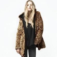 Faux fur coat women's jacket coat super thick leopard print mid-length hooded zipper faux fur loose coat women