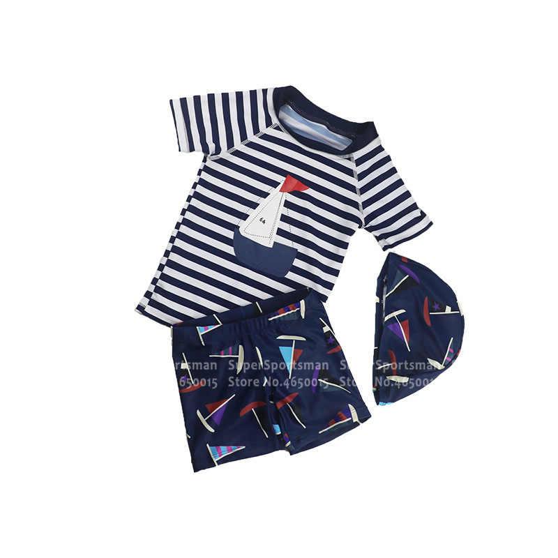 3 قطعة الوليد طفل الفتيان الكرتون ملابس الاطفال المضادة للأشعة فوق البنفسجية مخطط ملابس الشاطئ تصفح ملابس السباحة الأطفال السباحة قبعة السباحة ثوب السباحة