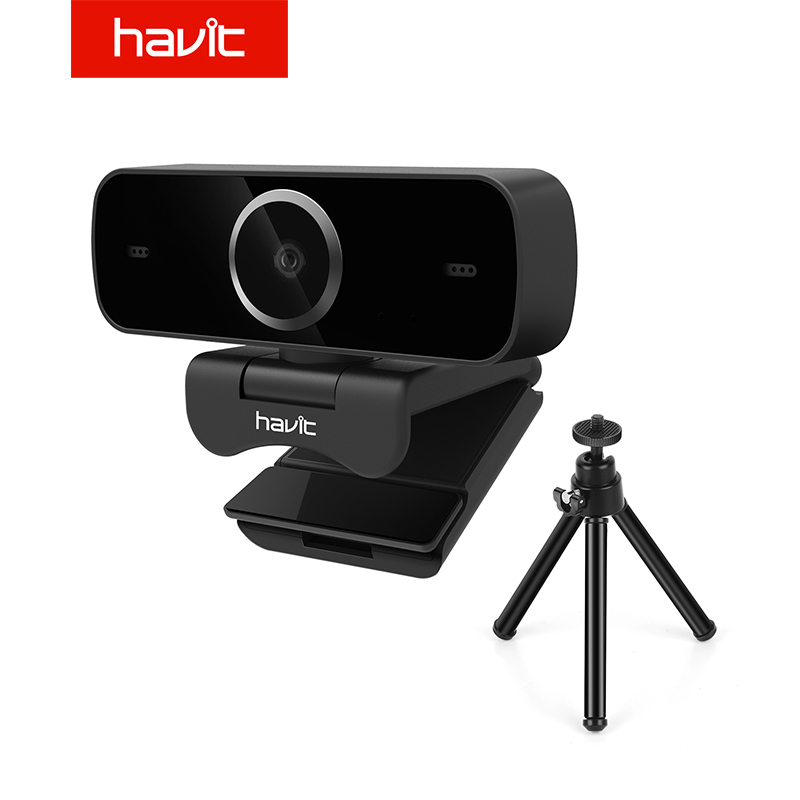 Havit Full HD 1080p Webcam Video Calling(up to 1920*1080 pixels) with Built-in HD Mic USB Plug&Play Free Tripod Widescreen Video(China)