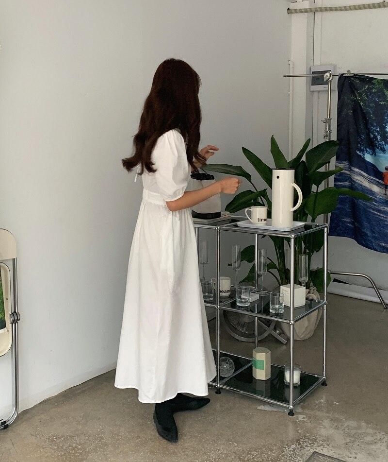 H65b3445d5fa74159a45a57ff14bbfec53 - Summer O-Neck Short Sleeves Elastic-Waist Calf Length Solid Dress