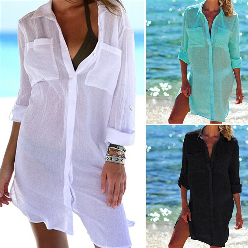 Cover Ups Swimwear Beach-Wear Bikini Button Summer Dress Long-Sleeve Ladies Pocket V-Neck