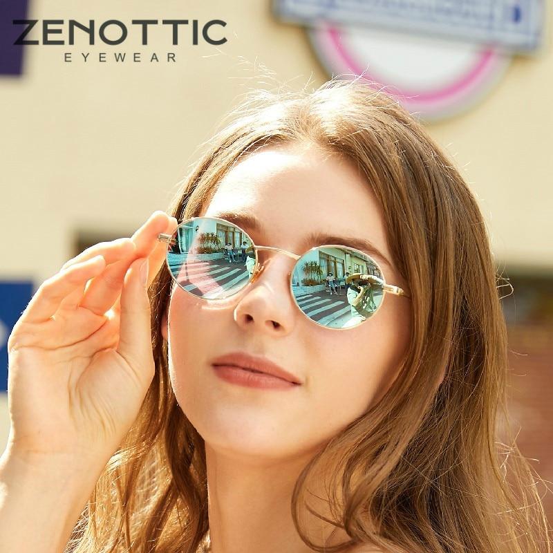 ZENOTTIC Retro Round Polarized Sunglasses Men Women Luxury Metal Coating Mirror Driving Shades Eyewear UV400 Goggles Sunglasses