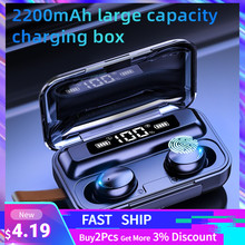 Écouteurs sans fil TWS Bluetooth 5.0, avec boîtier de recharge 2200 mAh, étanches, stéréo 9D, avec microphone, pour le sport