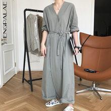 SHENGPLLAE-mono minimalista para mujer, traje con cuello en V de manga corta de talla grande, de cintura alta, de pierna ancha con cordones, novedad de Primavera de 2021, 5B539