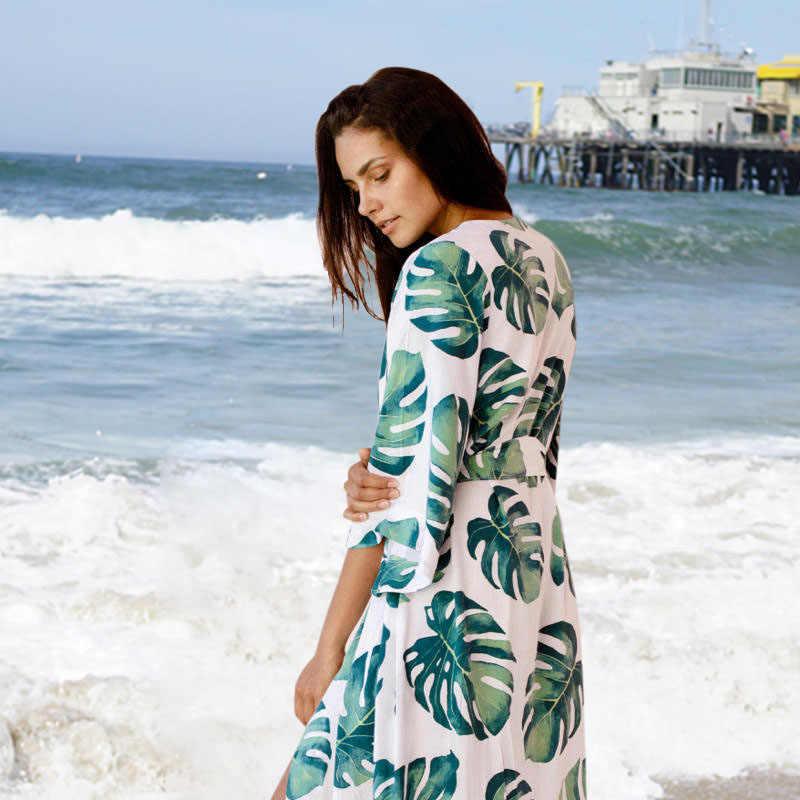 2019 Modo Ha Stampato Cover-Up Sexy Della Spiaggia di Estate Del Vestito di Cotone Tunica Delle Donne Beachwear Costume da Bagno Cover Up Bikini Wrap Parei
