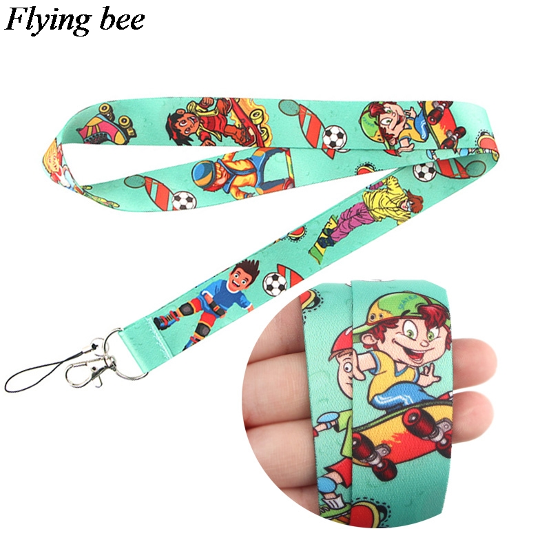 Flyingbee Fitness Sports Keychain Phone Lanyard Cartoon Punk Neck Strap For Keys ID Card Mobile Phone Lanyards X0650