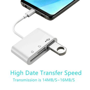 3-in-1 USB-C Card Reader Adapter OTG Type-C Camera Phone Tablet Computer Accessories For TF Secure Digital Memory Cards