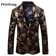 Бренд PViviYong, высококачественный мужской костюм, модный мужской блейзер с цифровой печатью, Золотой Костюм, мужской приталенный пиджак 915